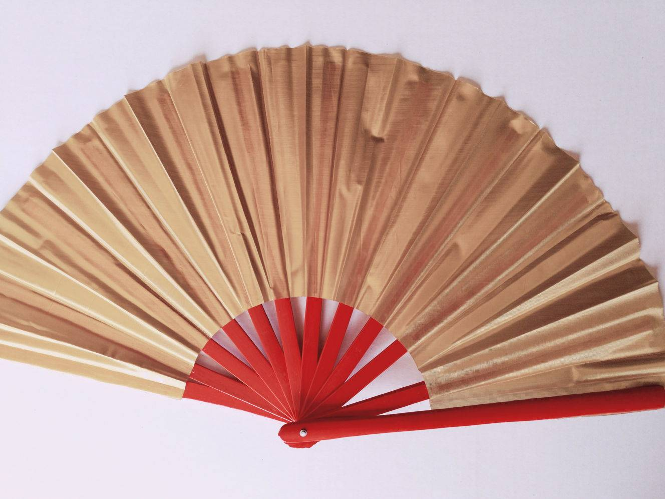 Plain Tai Chi fan Gold Fabric with Red Bamboo Frame (Style BF ...