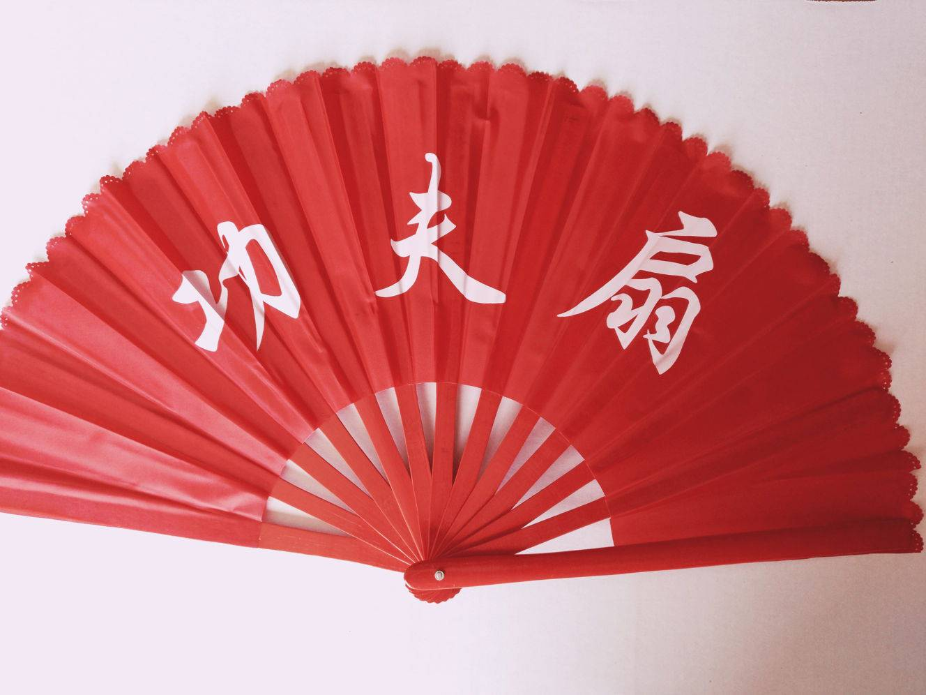 Tai Chi fan Red Fabric with Red Bamboo Frame (Style BF-02RKF)