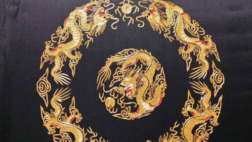 Handmade Round-gold Embroidery, Size 20-1/2 X 20-1/2 (Five Dragons) (P-368)
